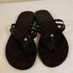 Coach Black Patent Style Sandals Size 8